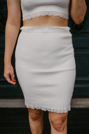High Waist Knitted Trim Lace Mini Skirt-Skirts-Womens-Southern-Boutique-Shop