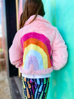 Rainbow Faux Fur Pink Jacket--Womens-Southern-Boutique-Shop