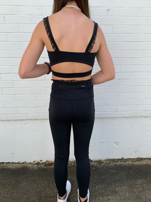 Black Lace Edge Sports Bra--Womens-Southern-Boutique-Shop