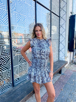 Snake Skin Ruffle Dress--Womens-Southern-Boutique-Shop