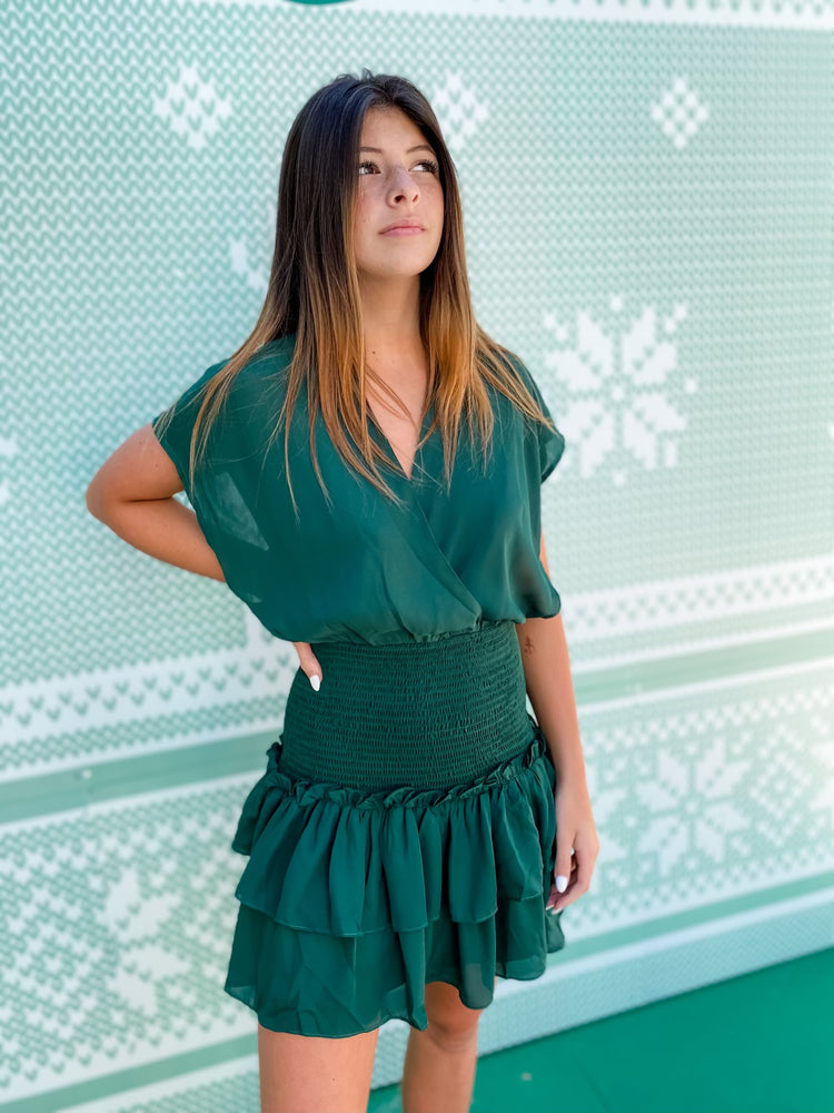 Hunter Green Ruffle Dress--Womens-Southern-Boutique-Shop