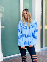 Baby Blue Tie Dye Sweater--Womens-Southern-Boutique-Shop