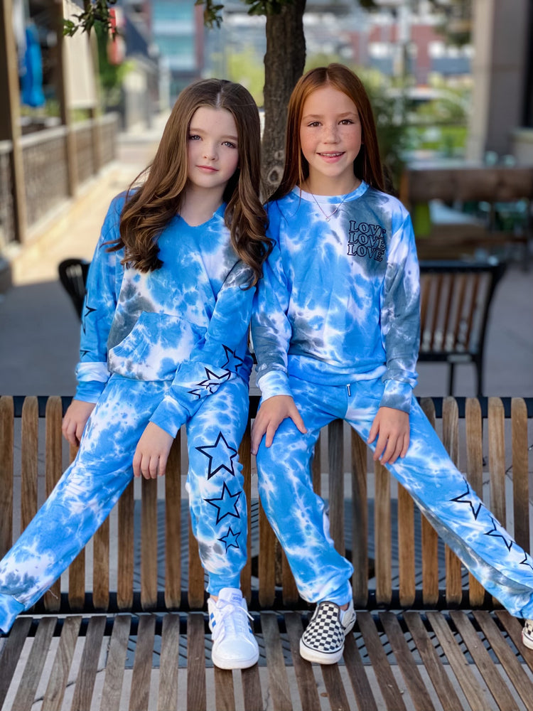 Blue Tie Dye Joggers--Womens-Southern-Boutique-Shop