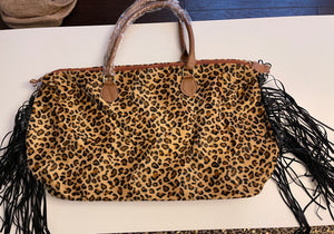 Fringe leopard weekender bag--Womens-Southern-Boutique-Shop