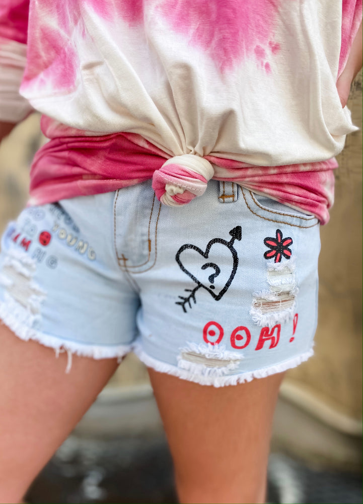 Love Printed Denim Shorts--Womens-Southern-Boutique-Shop