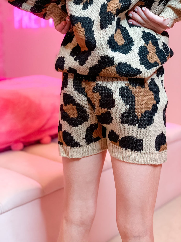 Knit Leopard Shorts--Womens-Southern-Boutique-Shop