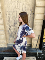 Navy Tie Dye Ruffle Dress--Womens-Southern-Boutique-Shop