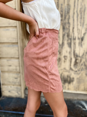 Dusty Pink High Waisted Skirt--Womens-Southern-Boutique-Shop