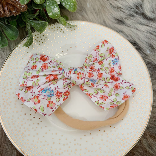 Red rose hair bow