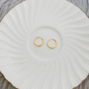 12mm Gold plated hoops