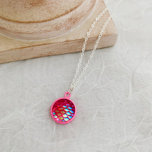 Pink Mermaid Scale Necklace