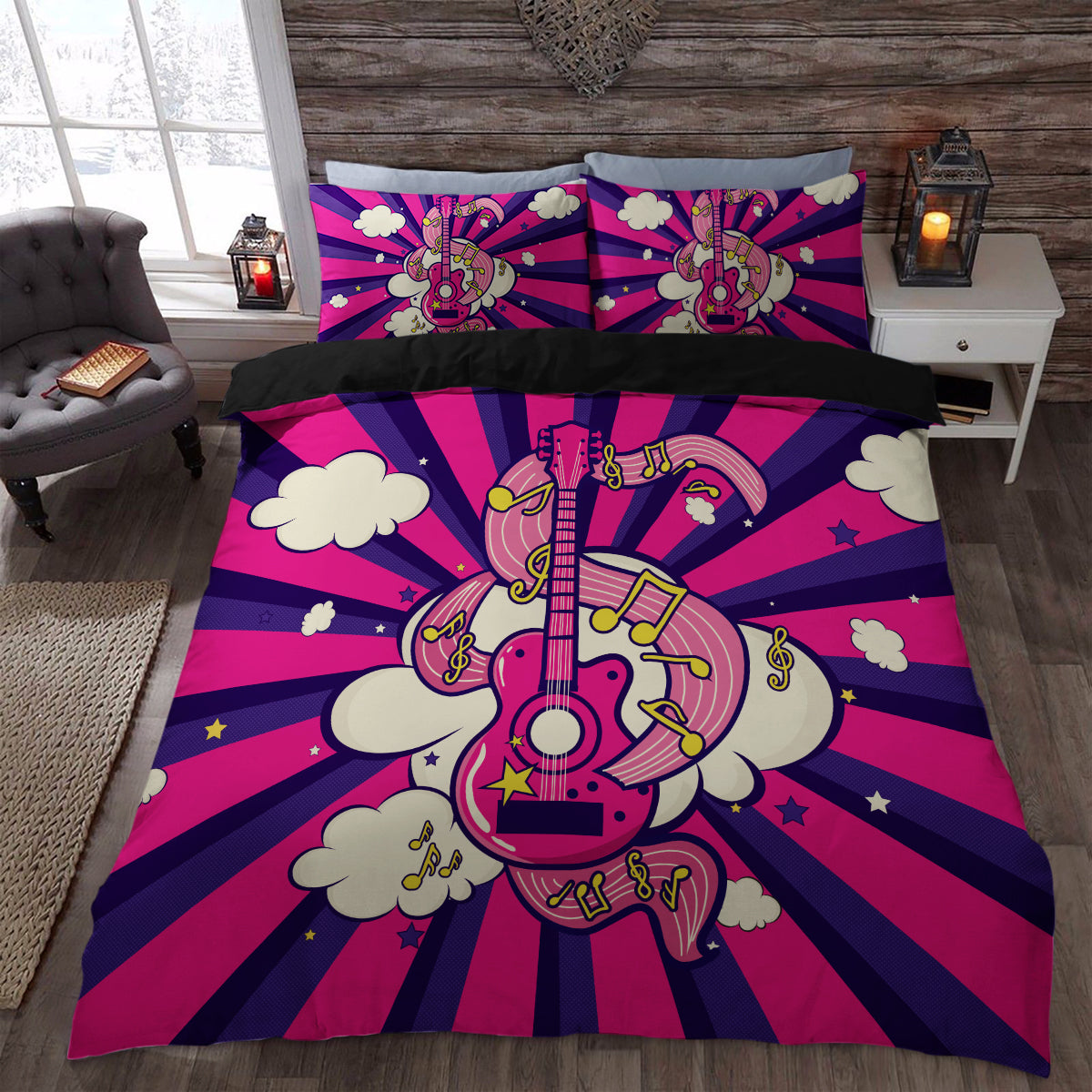 Cute Pink Guitar Bedding Set Duvet Cover Store For Sale   Perfect Gift For  Guitar Lovers