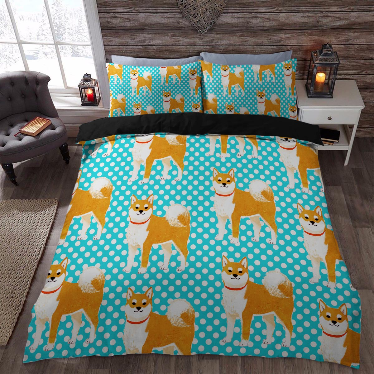 Cute Polka Dots Akita 3D Printed Little Dog Bedding Set Duvet Cover Shop  For Sale