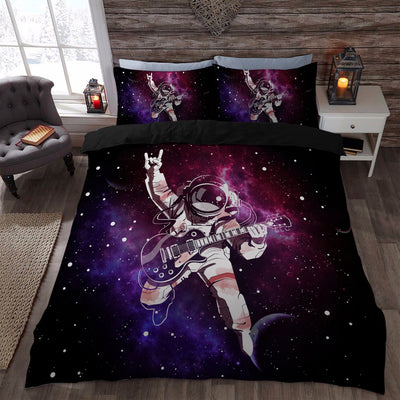 cool astronaut plays guitar outer space bedding set duvet cover store for sale - Space Bedding