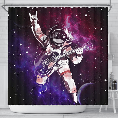 Rock N Roll Astronaut Guitarist Outer Space 3D Printed Shower Curtain Shop For Sale