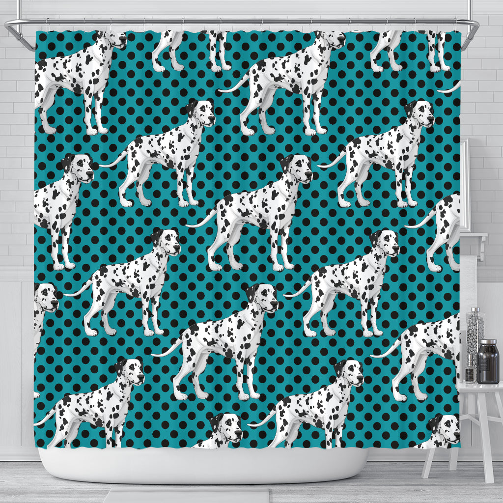 3D Polka Dots Cute Dalmatian Graphic Little Dog Shower Curtain Store For Sale