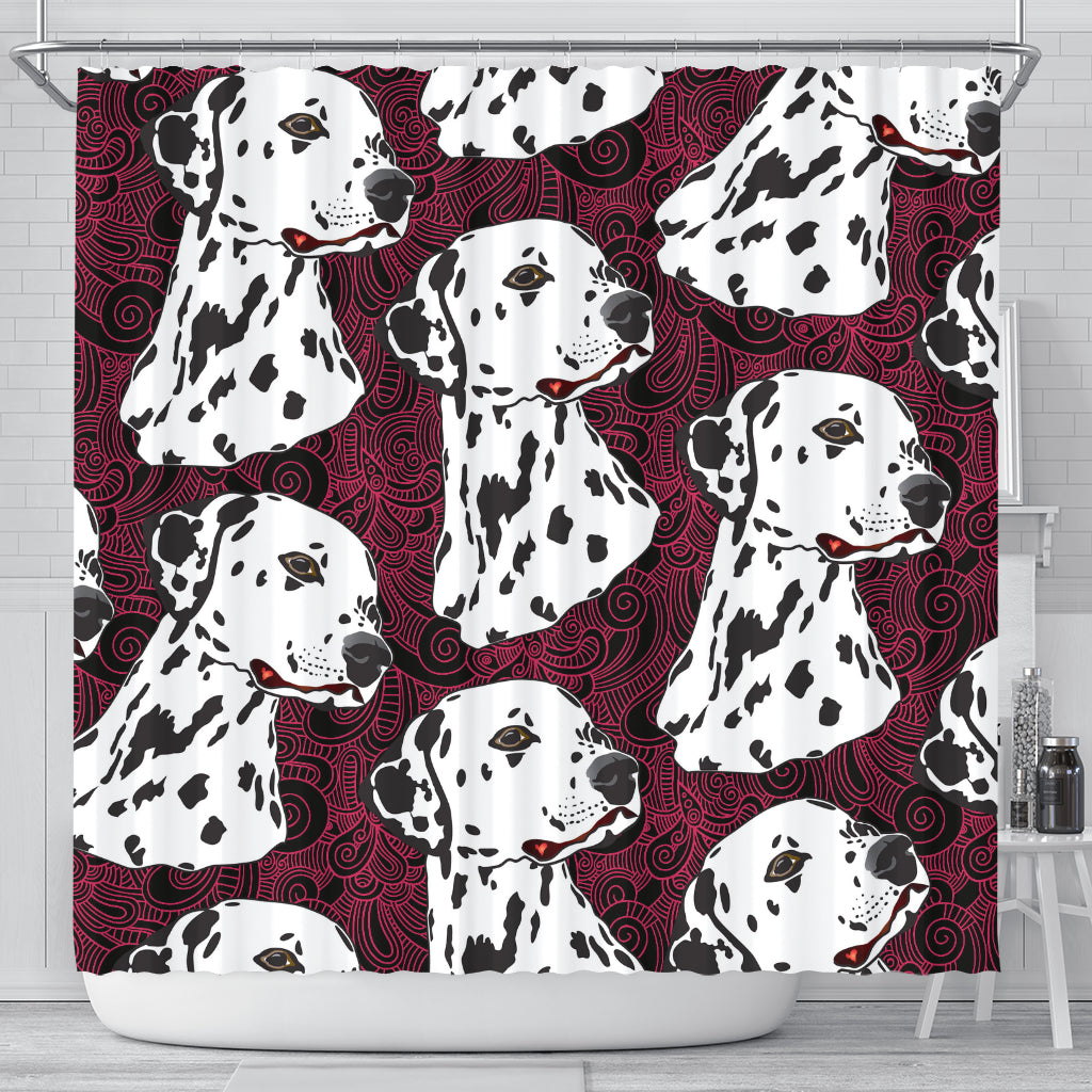 Cool 3D Dalmatian Pattern Graphic Cute Dog Shower Curtain Store For Sale