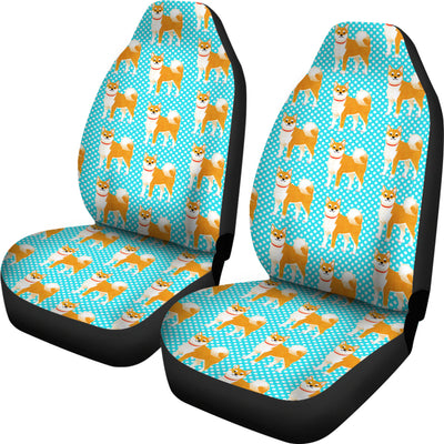 Cute Polka Dots Akita 3D Graphic Little Dog Car Seat Covers Shop For Sale