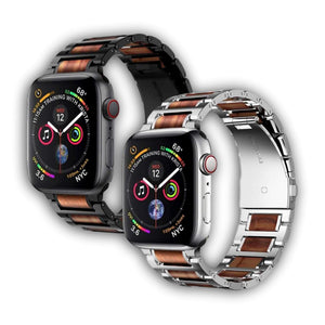 Wood Stainless Steel Apple Watch Bracelet - Ask Gab