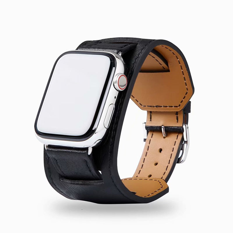 Luxury Double Leather Cuff for Apple Watch - Ask Gab