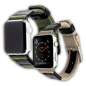 Canvas and leather band for Apple watch series - Ask Gab