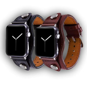 Bund style leather strap for Apple Watch all versions - Ask Gab