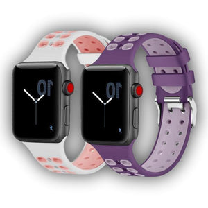 Double pin buckle sport silicone Apple watch band 42/44mm