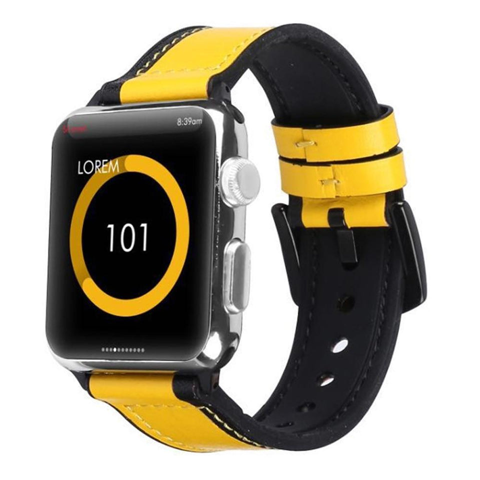 Unisex fashion Apple watch leather and silicone band - Ask Gab
