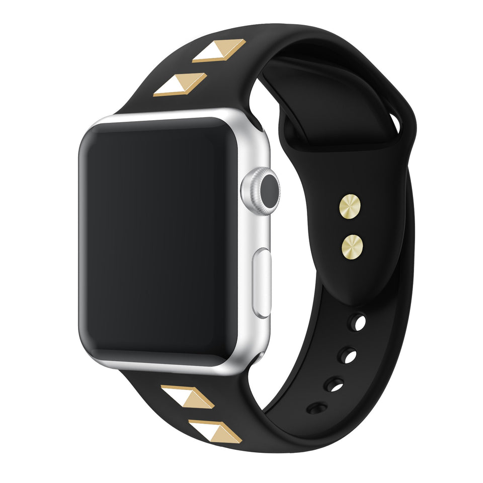 Riveted design Apple watch soft silicone band - Ask Gab