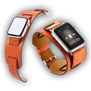 Leather cuff Bracelet for Apple watch series - Ask Gab