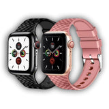 Buckle clasp Apple watch silicone texture band - Ask Gab