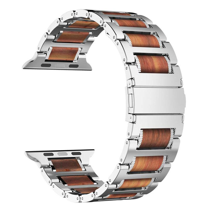Steel and Wood Link Bracelet for Apple Watch Series - Ask Gab