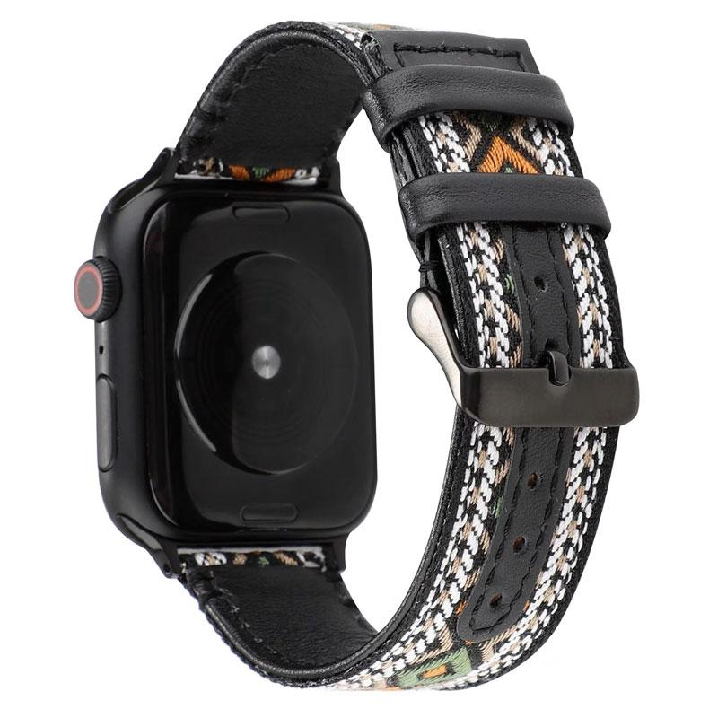 Nylon embroidered Apple watch leather band - Ask Gab