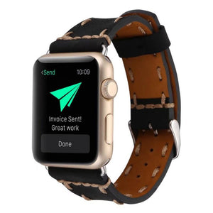 Handmade Apple watch theaded leather band - Ask Gab