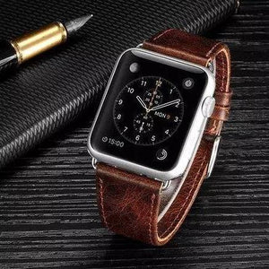Cowhide Leather Watch Strap for Apple Watch 42mm 38mm - Ask Gab