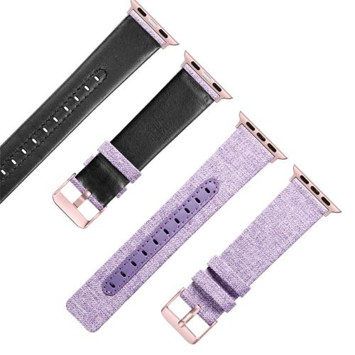 Canvas with Leather Strap for Apple Watch AskGab purple 38mm-40mm