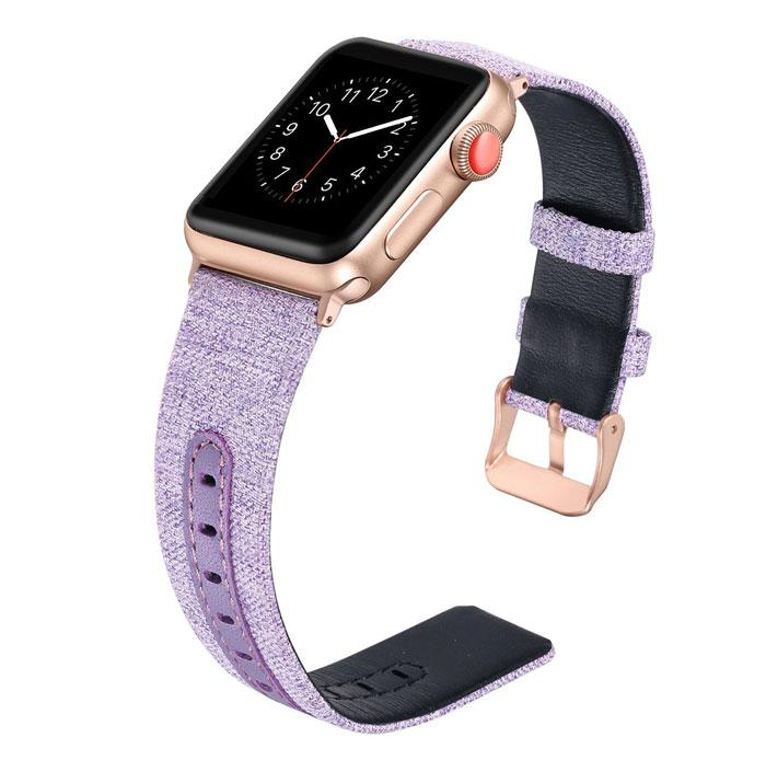 Canvas with Leather Strap for Apple Watch - Ask Gab