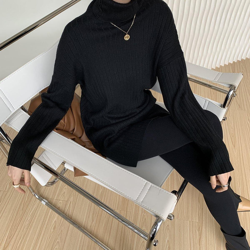 Turtleneck Knit - Black - Slowliving Lifestyle