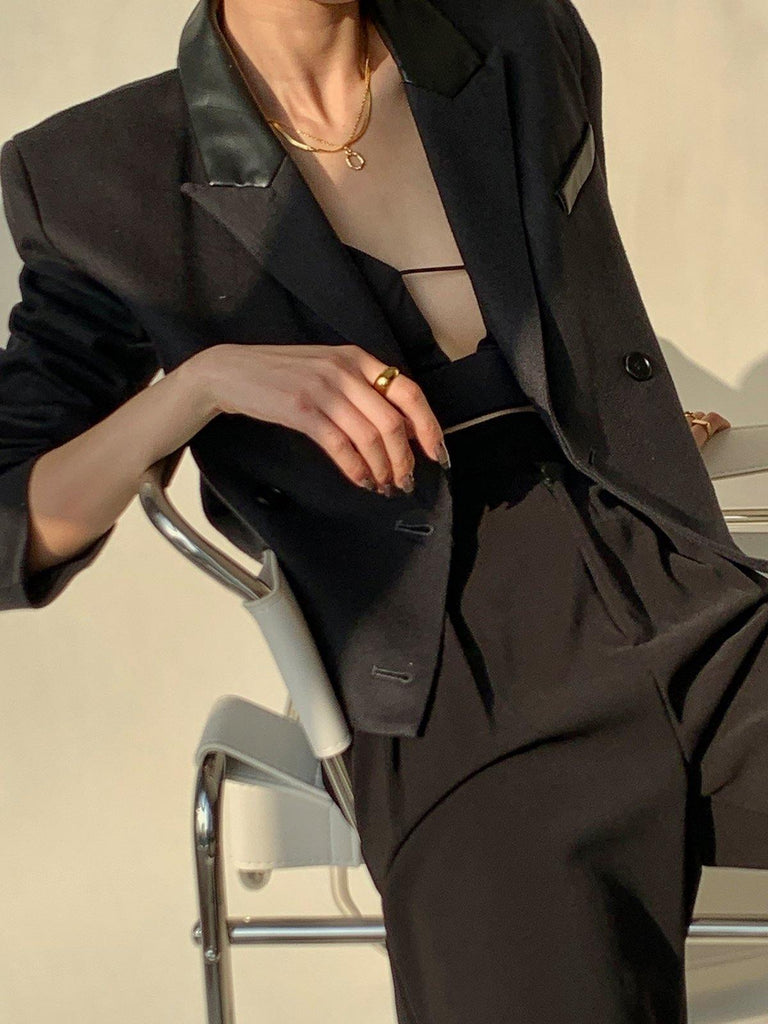 Double-Breasted Cropped Blazer - Black - Slowliving Lifestyle