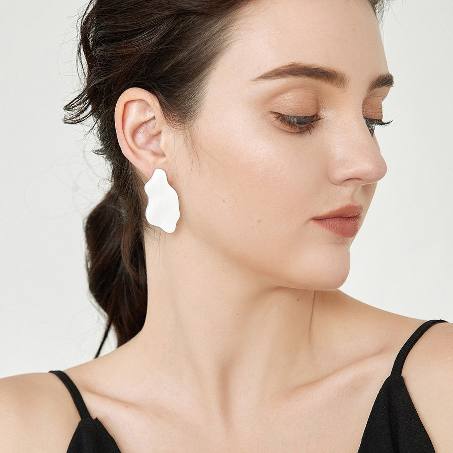 Asymmetrical White Peach Enamel Earrings - Slow Living Lifestyle