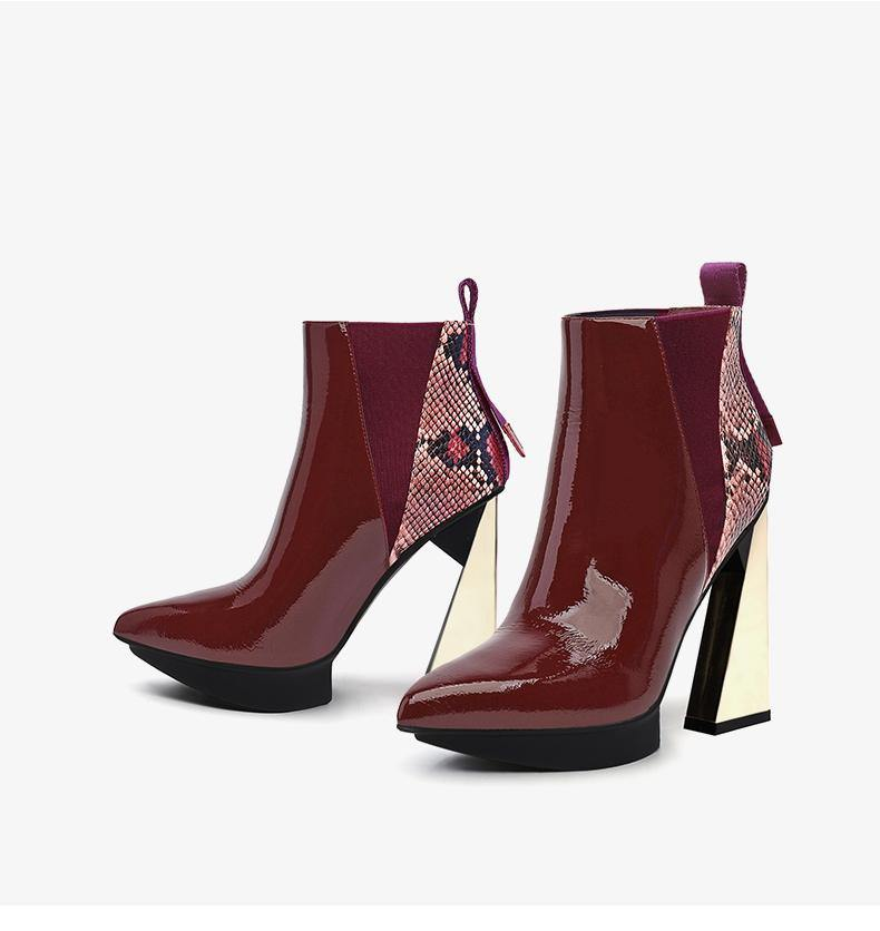 High Heel Pointed Toe Leather Ankle Boots - Slowliving Lifestyle