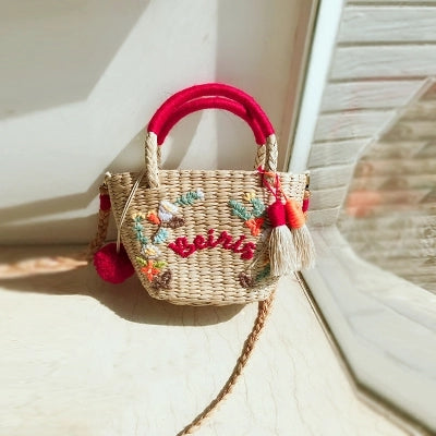 Straw Handbag With Your Own Name  (Customized Bag)