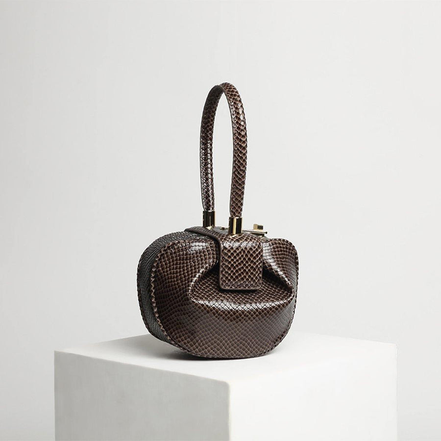 Snake Pattern Wonton Bag - Brown