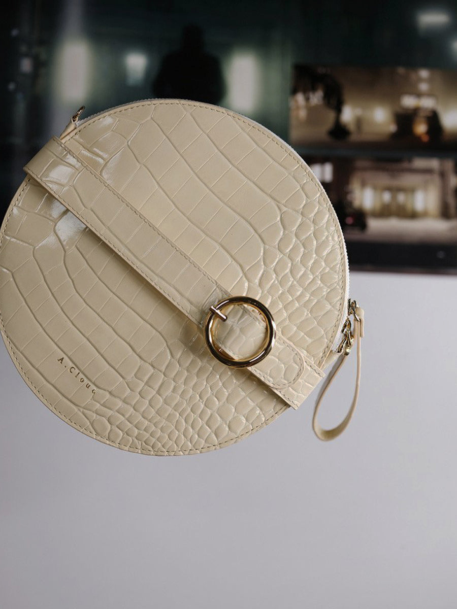 A.Cloud Future Notes Round Cream Clutch Bag - Slow Living Lifestyle