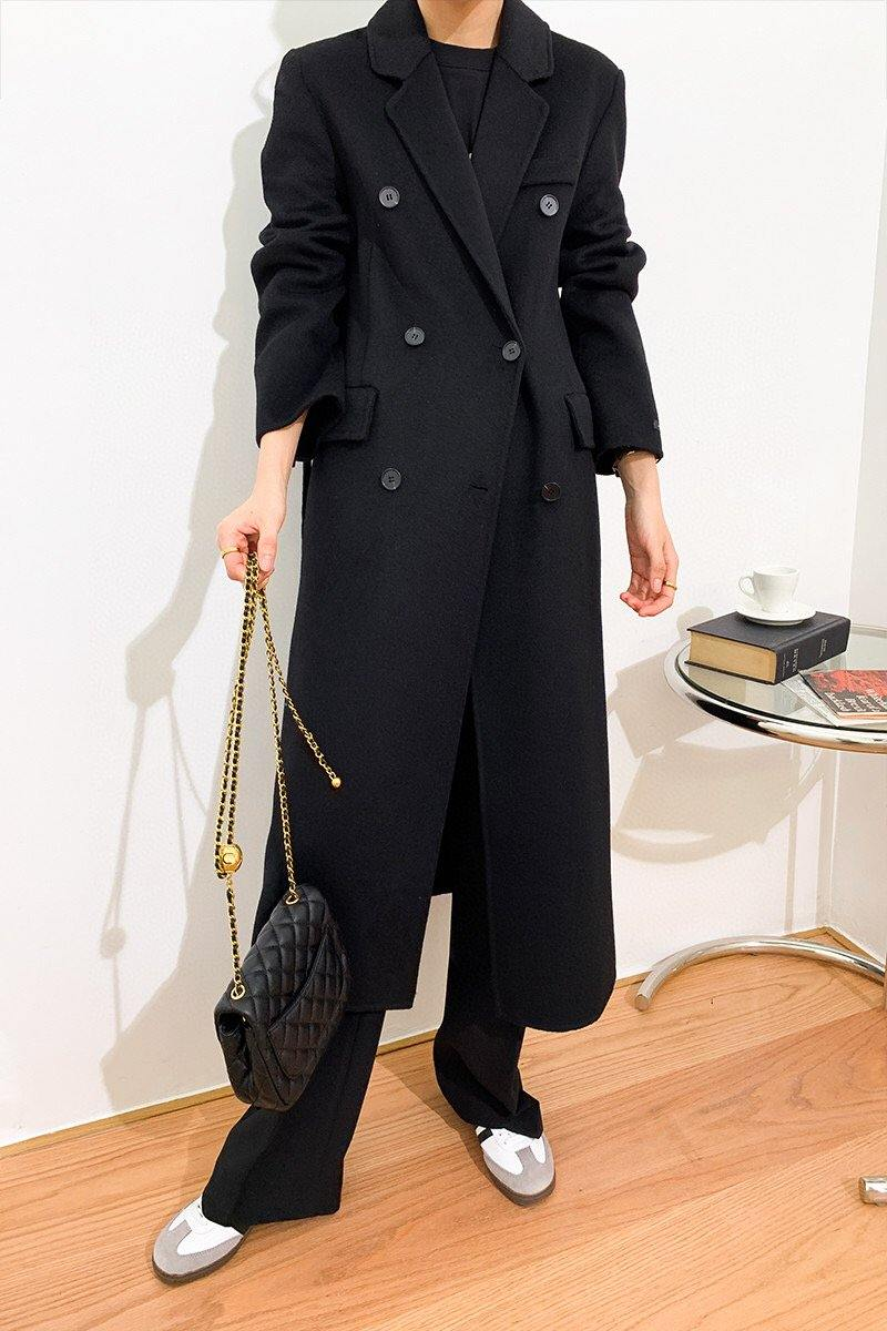 Wool Double Breasted Long Coat _Black
