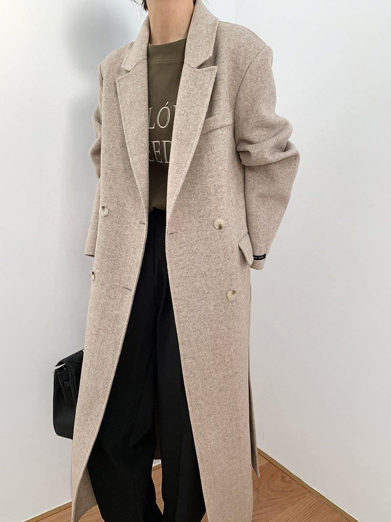 Wool Double Breasted Long Coat _Beige
