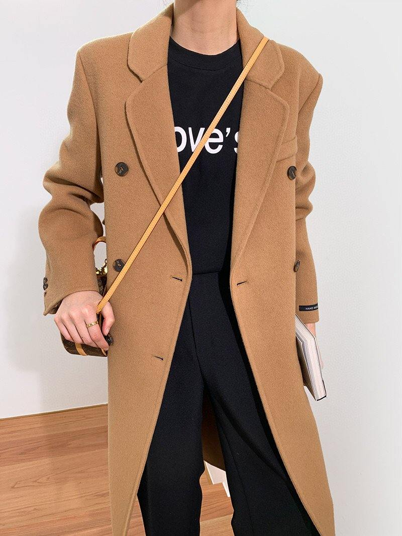 Wool Double Breasted Long Coat _Camel