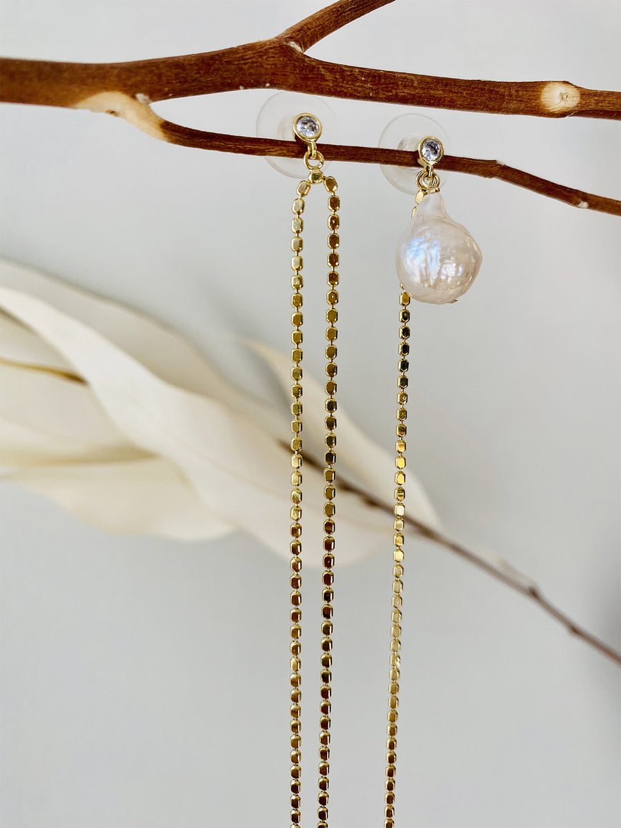 Asymmetrical Long Tassel Pearl Earrings - Slow Living Lifestyle