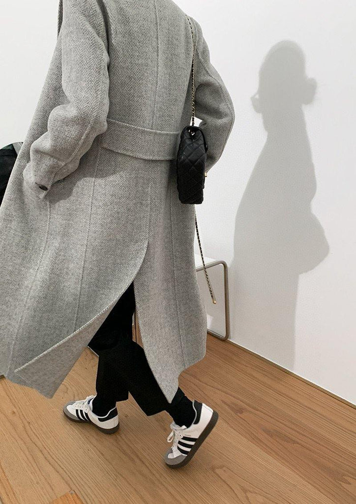 Tailored Single-Breasted Wool Coat_Grey - Slowliving Lifestyle