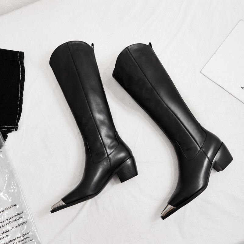 Metal Point Toe High Boots